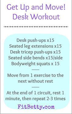 Stuck at a desk for work? Stay active with this Get Up and Move Desk Workout and active living tips for desk-bound workers Exercise At Your Desk, Office Exercise, Office Workouts, Exercise Moves, Fitness Nutrition, Fitness Tips, Workout Fitness, Butt Workout, Fitness Motivation