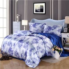 ==> [Free Shipping] Buy Best Chinese Style Bedding Set Imitated Silk Satin Bedclothes Sets 4Pcs Blue Printing Bed Linens Duvet Cover Flat Sheet Pillowcase Online with LOWEST Price | 32605247147