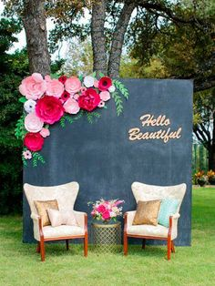 Shades of Pink, bright pink and black paper flower backdrop for weddings, showers, events. paper flower backdrop by PaperFlora Paper Flowers Wedding, Giant Paper Flowers, Large Flowers, Diy Wedding Backdrop, Diy Backdrop, Wedding Decorations, Backdrop Lights, Wedding Wall, Dream Wedding