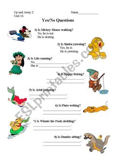 Present Continuous Yes/No Questions with Disney - ESL worksheet by Disney Questions, Yes Or No Questions, Esl Lessons, Grammar Lessons, Vocabulary Games, Grammar And Vocabulary, Phonics Worksheets, Worksheets For Kids, Teacher Notes