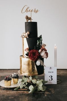 100 Pretty Wedding Cakes To Inspire You - Fabmood Wedding Colors Wedding Themes Wedding color palettes Pretty Wedding Cakes, Wedding Cake Roses, Black Wedding Cakes, Elegant Wedding Cakes, Wedding Cake Designs, Wedding Themes, Wedding Decorations, Unconventional Wedding Cake, Invites Wedding