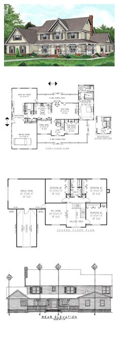 Country House Plan 96841 | Total Living Area: 3005 sq. ft., 5 bedrooms & 2.5 bathrooms. #houseplan #countrystyle