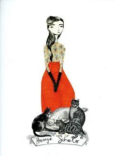 Girl with her kitties