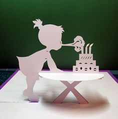 Girl with Birthday cake pop-up card (template from Cahier de Kirigami 9)                                                                                                                                                                                 More