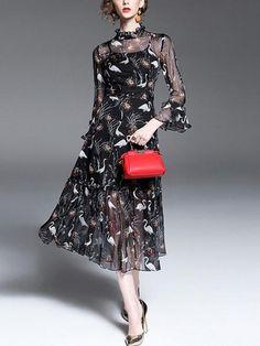 BelleGal Black Animal Print Chiffon Mid Calf Dress
