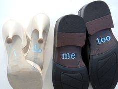 His & Hers I DO Shoe Stickers in Blue I Do  and by Forweddingsake, $18.00
