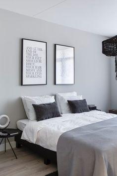 Gray, white, black, monotone and minimalist bedroom furniture and design.