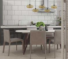 Gosta do estilo bricks mas prefere um formato maior? Porque não um formato 25x35cm? Use e abuse da imaginação com nossos produtos! #inspiração #cozinha #revestimento #incefra #grupofragnani #pisoceramico #kitchen #decor #piso #decoracao