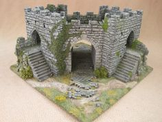 Caer Kyncaid inside view of gatehouse. Modular wargaming terrain. Constructed by Zaboobadidoo