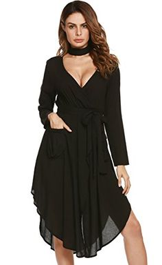 Zeagoo Flowy Party Dress Womens Boho Split TieWaist Vintage Solid Midi  DressBlackXL     Click image to review more details. (This is an affiliate  link)   ... f3ea7b947f9e