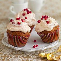 cranberry walnut lemon cupcakes with lemon cream cheese icing Lemon Cupcakes, Mini Cupcakes, Cupcake Cakes, Cup Cakes, Lemon Cream Cheese Icing, Cranberry Lemonade, Grandma Cookies, Vanilla, Decorated Cookies