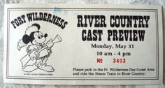 RARE 1976 Disney WDW River Country Water Park Cast Preview Preopening Ticket | eBay