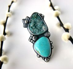 The Bearer of Life - Druzy Chrysocolla and Turquoise Sterling Silver Ring