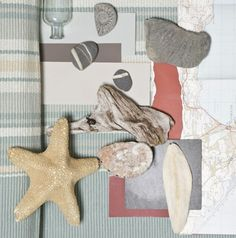 Farrow & Ball Coastal Colour Schemes - Skimming Stone Elephant's Breath® Blue Gray London Clay and Radicchio® Farrow Ball, Paint Schemes, Colour Schemes, Pale Blue Paints, Coastal Colors, Cottages By The Sea, House By The Sea, Colorful Christmas Tree, Colors