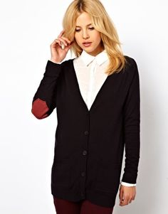 ASOS Cardigan With Octagon Elbow Patch