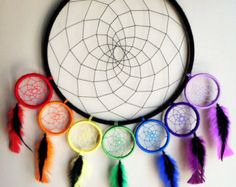 Custom Large Black and Rainbow Chakra by SunChildDreams on Etsy Dream Catcher Patterns, Dream Catcher Mandala, Dream Catcher Decor, Dream Catcher Boho, Dream Catchers, Chakra, Yarn Crafts, Diy Crafts, Crafts To Make