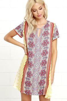 Boho Dress - Cream Print Dress - Shift Dress - Lace-Up Dress - $45.00