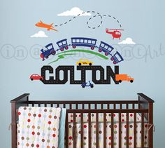 Transportation Scene with Train, Custom Name, Airplanes, Cars and Helicopter Wall Decal for Baby Nursery or Childrens Room 002 by InAnInstantArt on Etsy https://www.etsy.com/listing/117398453/transportation-scene-with-train-custom