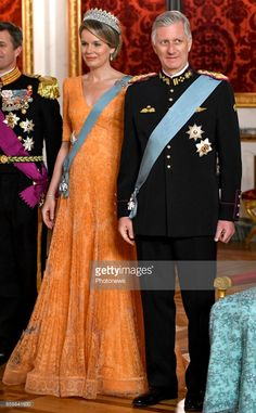 MARCH State visit of King Philippe and Queen Mathilde of Belgium to Denmark. King Philippe and Queen Mathilde during the State banquet at Christiansborg Palace. Royals Today, Orange Gown, Royal Monarchy, Royal Jewels, Crown Jewels, Danish Royal Family, Queen Dress, My Fair Lady, Royal House