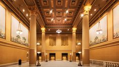 Once the station's women's lounge, the room at the northwest corner of Union's Great Hall along with its ornate ceiling, columns, and French block murals have been carefully brought back to its former grandeur following years of neglect and water damage.