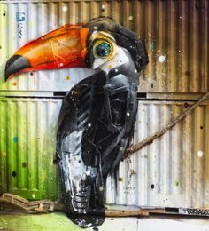 3D Street Art Graffiti by Bordalo Segundo in Portugal.  the artist uses street trash for his new Installation.