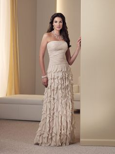 Sheath/Column Floor-length Strapless Chiffon Champagne Mother of the Bride Dress at Millybridal.com