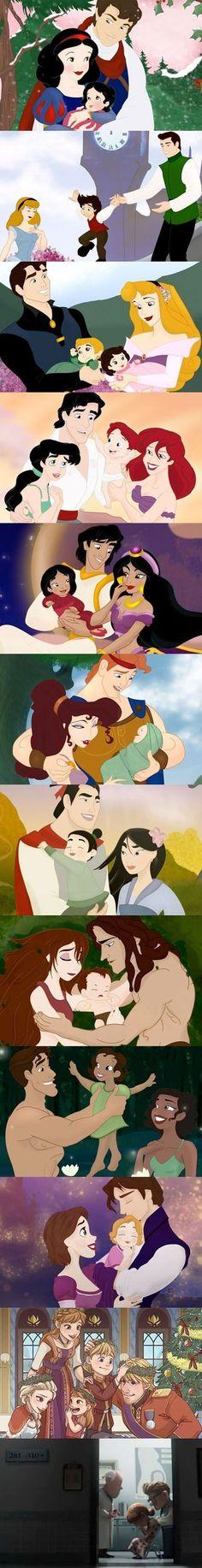 Post fofinho das famílias Disney durante o final feliz.