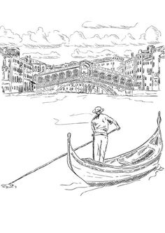 Rialto Bridge with Gondola Coloring Page - Buzzle.com Printable Templates