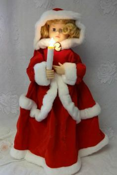 vintage telco motion ette lighted animated christmas victorian lady doll santa figurines victorian ladies