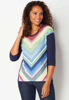 a6be1e6b Rainbow Stripe Tee Stylish Tops, Casual Tops, Knit Shirt, Striped Tee,  Latest