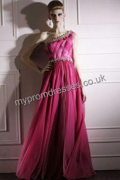 Floor Length One-shoulder Pink Satin A-line Evening Dress  http://www.mypromdresses.co.uk