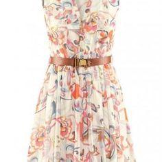 Vintage Turndown Collar Printed Skater Dress for Woman