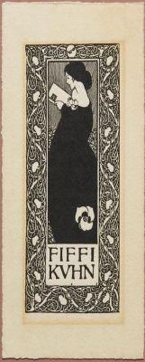 Ex libris - Fiffi Kuhn. Created by Simpson, Joseph William (1872-1932)