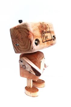 Recycled wooden robot the tattooed