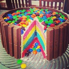 Rainbow cake topped with mnm's & framed with Kit Kat. OH MY GOD. OH MY GOD. OH MY GOD. OH MY GOD!!!!