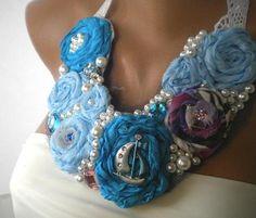 Ocean Waves Statement Bib Silk Necklace di Handmade by Semra Ascioglu su DaWanda.com