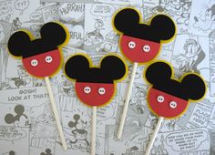 Mickey Mouse Cupcake Toppers with Pants and Button