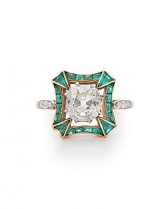 Fred Leighton Art Deco Old Mine diamond and emerald ring, price upon request, 212.288.1872.