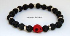 Men's Halloween Wristband with Black Lava Stones and Burgundy Howlite Skull Halloween Men, Halloween Jewelry, Greek Jewelry, Lava, Burgundy, Stones, Jewelry Design, Women Jewelry, Skull