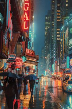 The first thing that popped up at me are all the lights in this photo. It portrays a beautiful and active city life. A picture like this can very easily capture the interest of the audience. New York Wallpaper, City Wallpaper, Ciudad New York, Photographie New York, Urbane Fotografie, Rainy City, Images Vintage, City Vibe, New York Photographers