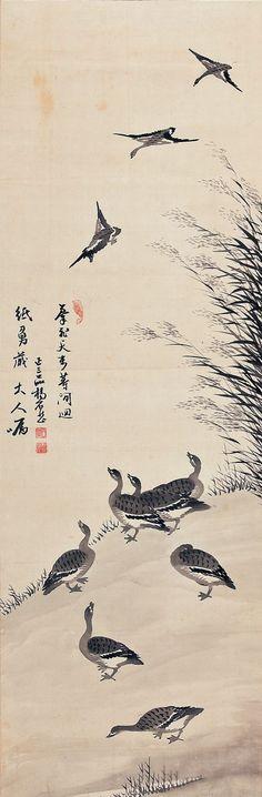 양기훈 (1843~1919 이후), 노안도, 수묵화, 견에 수묵.