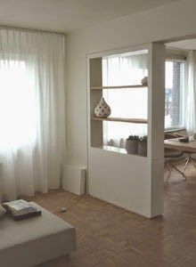 Ideal partition between hall and kitchen, shoe cupboard instead of TV. Home Building Design, Half Wall Room Divider, Home Room Design, Interior Columns, Small Space Interior Design, Interior Design Living Room, Walls Room, Living Room Partition Design, Front Room Decor