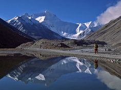 Mountain Reflection, Tibet. For 20 years I have had this dream that I am walking up a beautiful mountain path in Tibet, with a calm lake beside the path. In most of the dreams my parents are hiking with me.