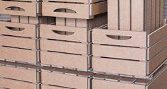 Replica en cartón de cajones de fruta. Ideales como organizadores, para almacenaje, decoración, estanterías...