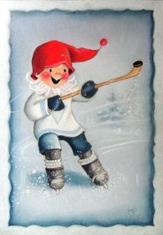 Postcrossing postcard from Finland Swedish Christmas, Christmas Elf, Christmas Colors, Christmas Crafts, Vintage Christmas Cards, Vintage Cards, Scandinavian Kids, Creation Photo, Funny Drawings