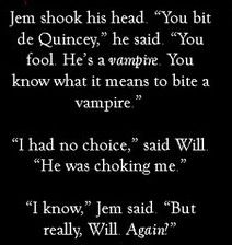 Oh Will(The Infernal Devices), biting vampires! Loved this scene!