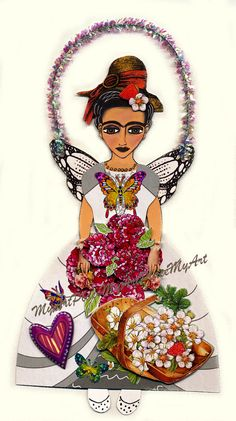 Paper Doll Collage Frida Kahlo Frida's Garden Fairy by MyArtPlace, $12.00