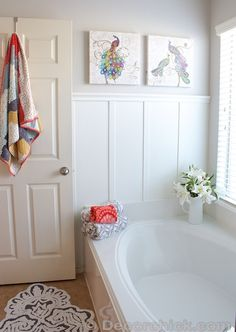 modern colorful bathroom with board and batten, DecorChick