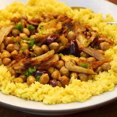 Couscous with Chickpeas and Fennel.  Substituted Israeli Couscous and used capers instead of olives