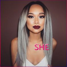 Find More Synthetic Wigs Information about Grey Synthetic Lace Front Wig Glueless Ombre Black to Grey African American Wigs Heat Resistant grey ombre wig for black women,High Quality Synthetic Wigs from SHE Lady House on Aliexpress.com